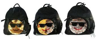 """Рюкзак """"Смайлы"""", материал  - джинса (полиэстер), цвет черный.  Одно основное отделение на молнии, внутренние карманы для мелочей, наружный передний ка"""