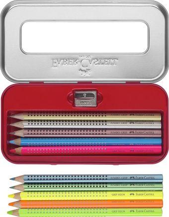 Подарочный набор цветных карандашей Jumbo Grip. Содержит 5 металлических цветов+5 неоновых цветов + 1 точилка