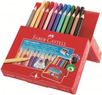 Цветные карандаши JUMBO GRIP + фломастеры и точилка в картонной коробке