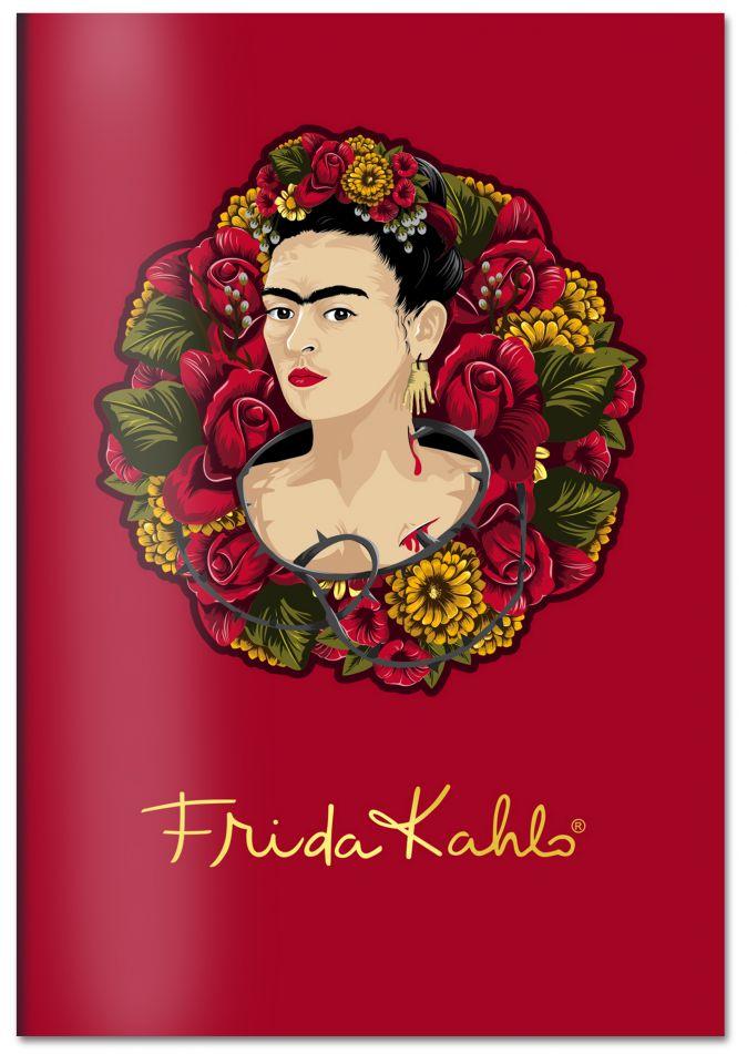 Тетрадь. Фрида Кало (А5, мягкая обложка, золотое тиснение, красная)