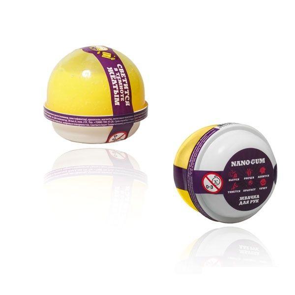 """Пластилин для лепки """"Жвачка для рук """"Nano gum"""", светится желтым"""", 25 гр."""