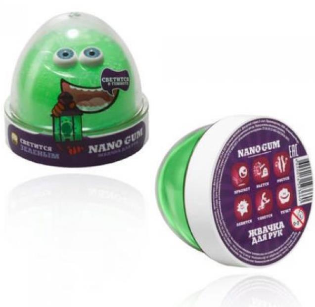"""Пластилин для лепки """"Жвачка для рук """"Nano gum"""", светится зеленым"""", 50 гр."""