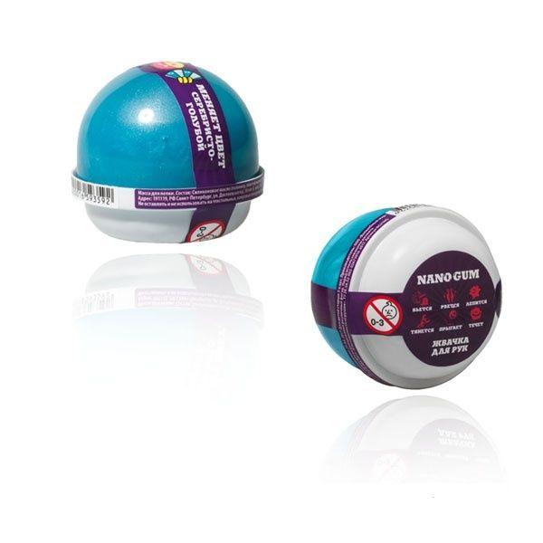 """Пластилин для лепки """"Жвачка для рук """"Nano gum"""", серебристо-голубой"""", 25 гр."""