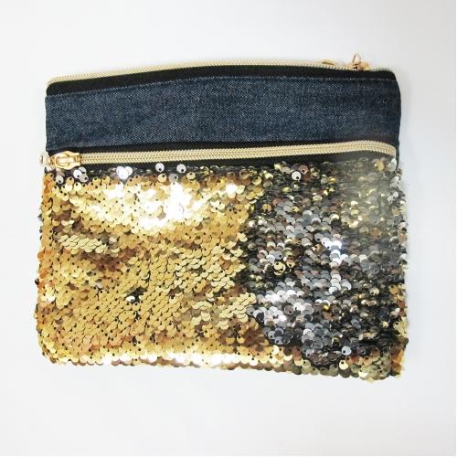 Пенал-косметичка реверсивные пайетки (золото/серебро) ХАМЕЛЕОН, с 2 молниями джинса, молния золото,  цвет изделия меняятся в зависимости от направлени