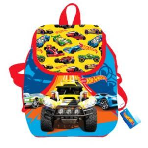"""Рюкзак """"Hot Wheels"""" детский, дошкольный, 32*29*13,5 см, полиэстер, 1 отделение на завязках с верхним клапаном на липучке, 1 внутренний кармашек, узкие"""