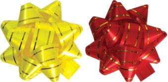 Бант-звезда  с золотой полоской для праздничной упаковки,  2 шт. в PP пакете с подвесом, цвета: желтый, красный, Размер ? банта 8 см, упак. /48/96 шт.