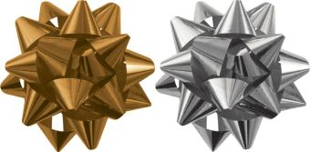Набор из 2-х металлизированых бантов-звезд для праздничной упаковки в PP пакете с подвесом, размер ? банта 80 мм, Цвета: золотой, серебряный, эффект -