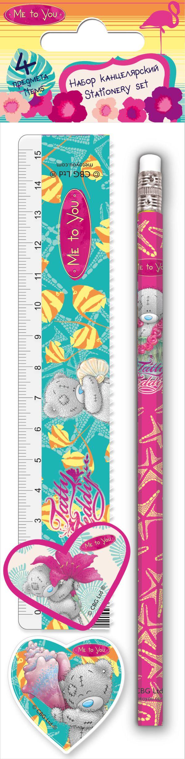 Канцелярский набор. Состав: линейка прозрачная 15 см, карандаш простой, точилка малая, ластик фигурный. Размер: 23 х 5,2 х 1,5 см. Me to You