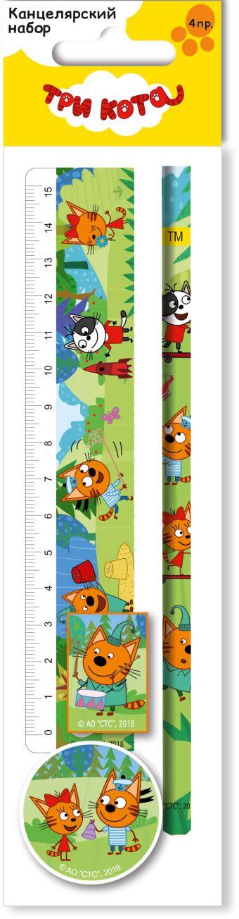 Канцелярский набор. Состав: линейка прозрачная 15 см, карандаш простой, точилка малая, ластик фигурный. Размер: 23 х 5,2 х 1,5 см.