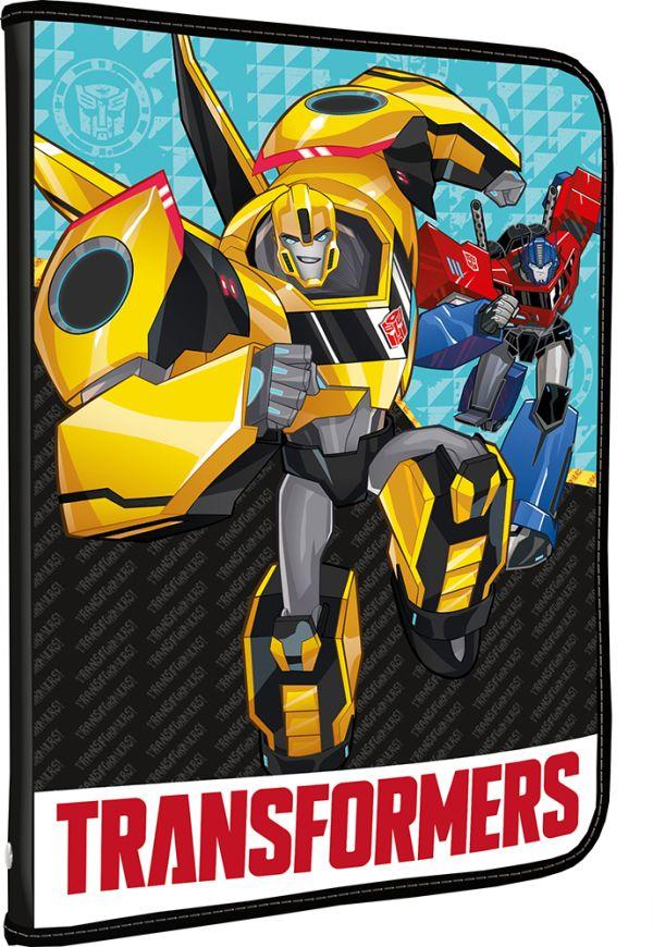 Папка на молнии. Для тетрадей, формат А5.Размер: 24 x 18,5 x 2,5 см. Transformers Prime