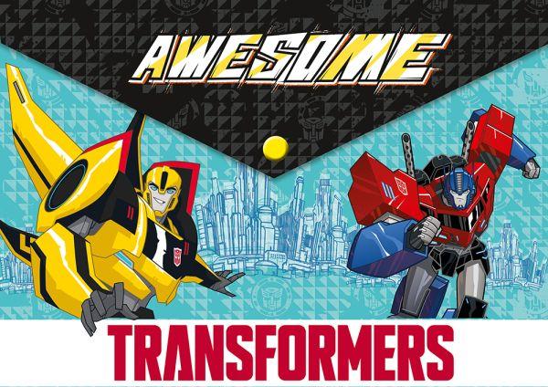 Папка-конверт с застежкой. А4 формата, на застежке- кнопке.Размер: 23,5 х 33 х 0,5 см. Transformers Prime