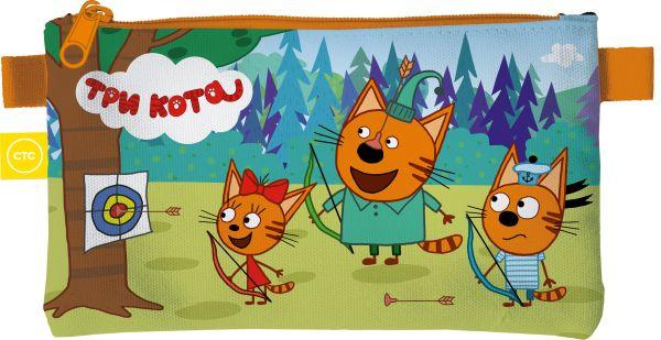 Пенал. Прямоугольной формы, на молнии. Размер: 11,5 х 22 х 1 см. Три Кота
