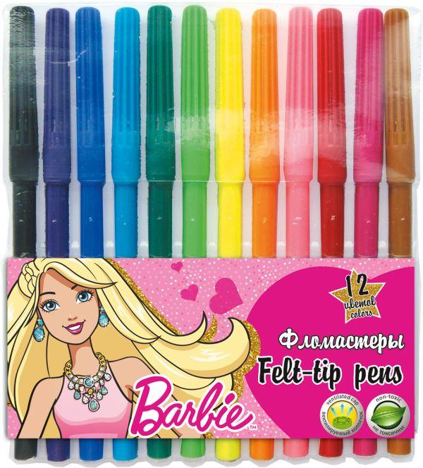 Фломастеры. Набор 12 шт. 12 цв, в пластиковой упаковке.. Barbie
