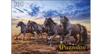 Puzzolini. ПАЗЛЫ 500 элементов. GIPZ500-7662 ЛОШАДИНЫЙ ГАЛОП/GALLOPING HORSES