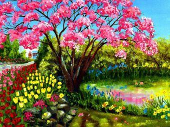 Раскраски по номерам на картоне. Весеннее цветение - раскраски по номерам на картоне (KS017)