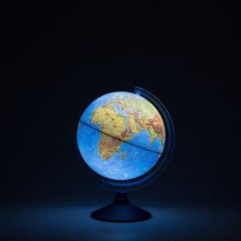 Глобус Земли физический с подсветкой от батареек. Диаметр 250мм