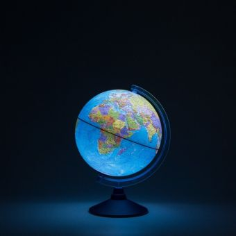 Глобус Земли политический с подсветкой от батареек. Диаметр 250мм