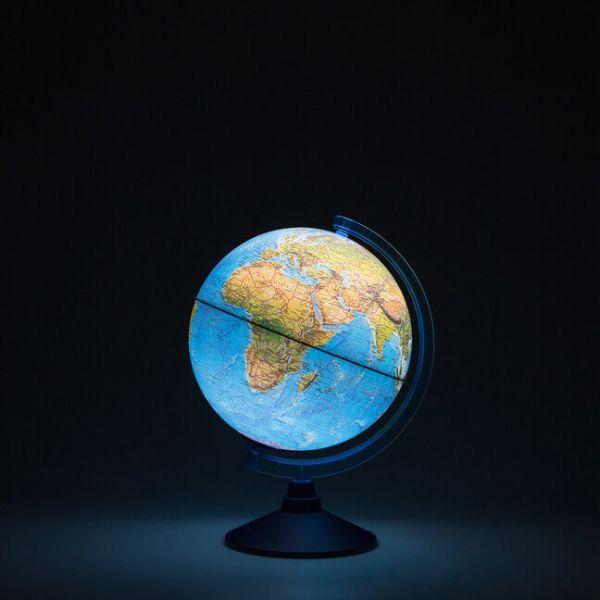 Глобус Земли ландшафтный с подсветкой от батареек. Диаметр 250мм