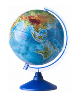 Глобус Земли физико-политический с подсветкой от батареек. Диаметр 250мм