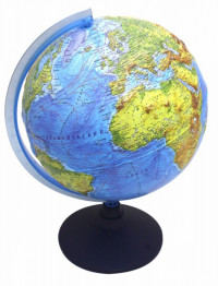 Глобус Земли физический рельефный с подсветкой от батареек. Диаметр 250мм (Рельеф)