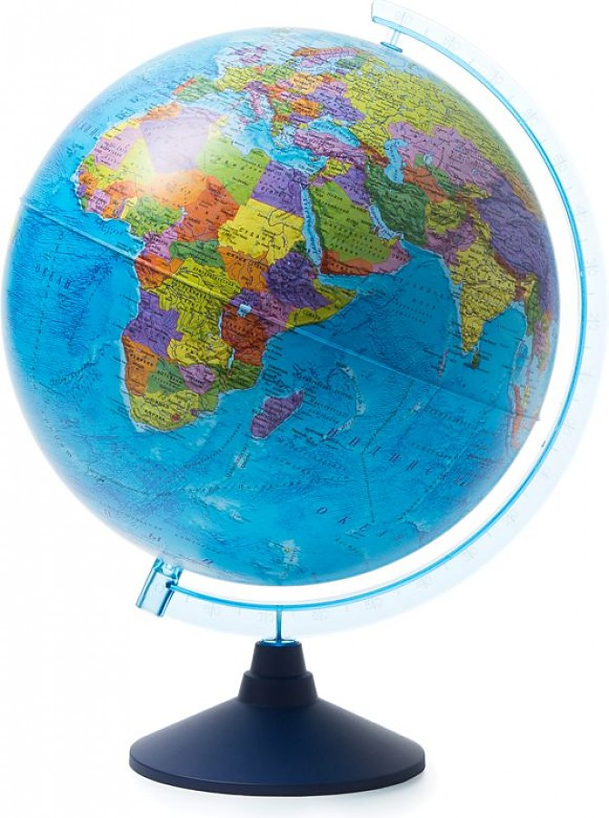 Глобус Земли политический рельефный с подсветкой от батареек. Диаметр 320мм (Рельеф)