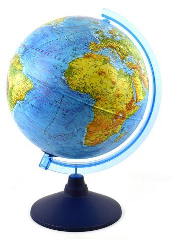 Глобус Земли физико-политический рельефный с подсветкой от батареек. Диаметр 320мм (Рельеф)