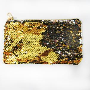 Пенал-косметичка реверсивные пайетки (золото/серебро) ХАМЕЛЕОН, джинса/золото, молния золото,  цвет изделия меняятся в зависимости от направления