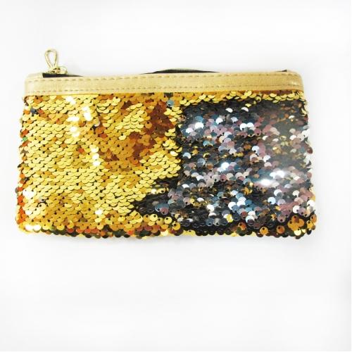 Пенал-косметичка реверсивные пайетки (золото/серебро) ХАМЕЛЕОН, с золотым кожзамом, молния золото, цвет изделия меняятся в зависимости от направления