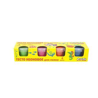 Тесто для лепки  неоновое Каляка-Маляка 4 цв.(зеленый,розовый,оранжевый,голубой)  по 90 г карт.уп.