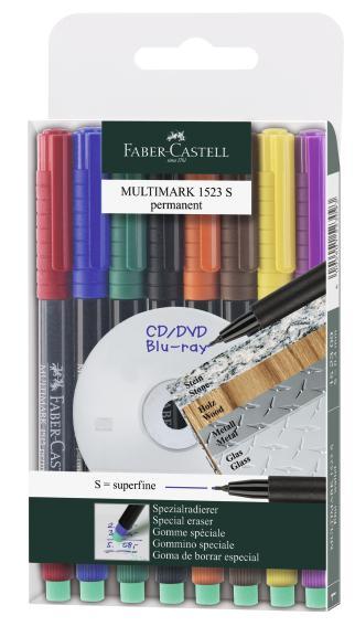 Капиллярная ручка  MULTIMARK для письма на CD, перманентная, 0,4мм, набор цветов, в блистере, 8 шт.