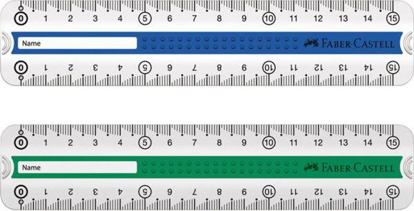 линейка GRIP 15 см., зеленая/синяя, пластмассовый чехол, 1 шт.