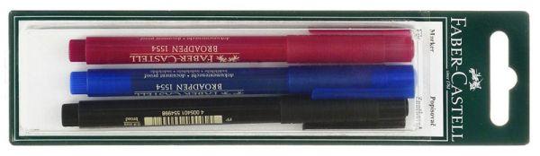 Капиллярная ручка BROADPEN 1554, красный/синий/черный, в блистере, 3 шт.
