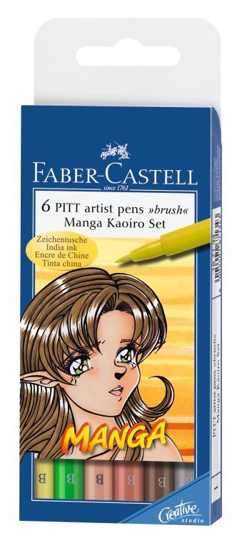 Капиллярные профессиональные ручки MANGA, набор цветов, в футляре,  6 шт.