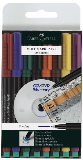 Капиллярные ручки MULTIMARK для письма на CD, перманентные, 0,6мм, набор цветов, в блистере, 8 шт.