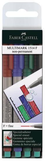 Капиллярные ручки MULTIMARK для письма на пленке, не перманентные, 0,6мм, набор цветов, в блистере, 4 шт.