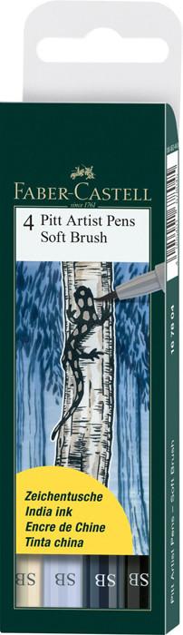 Капиллярные ручки Pitt Artist Pen Soft Brush, в пласт упаковке, 4 шт.