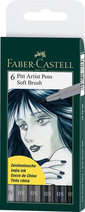 Капиллярные ручки Pitt Artist Pen Soft Brush, в пласт упаковке, 6 шт.