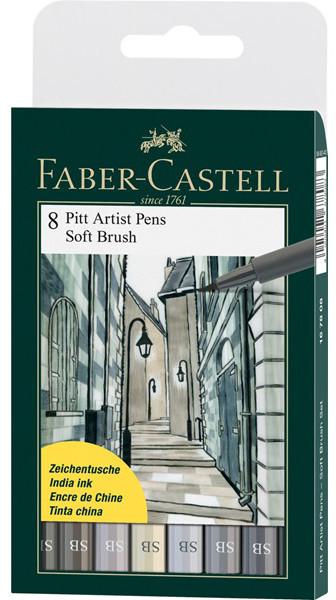 Капиллярные ручки Pitt Artist Pen Soft Brush, в пласт упаковке, 8 шт.