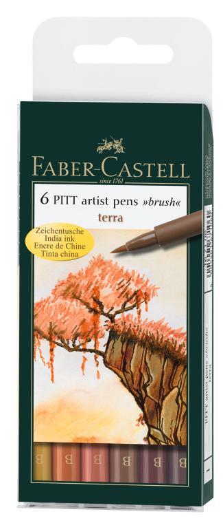 Капиллярные ручки PITT® ARTIST PEN, набор типов, натуральные оттенки, в футляре, 6 шт.