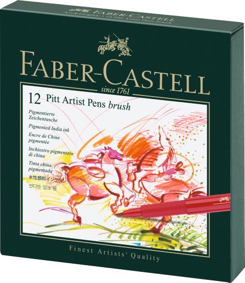 Капиллярные ручки PITT® ARTIST PEN, набор цветов, в студийной (кожзам.) коробке, 12 шт.