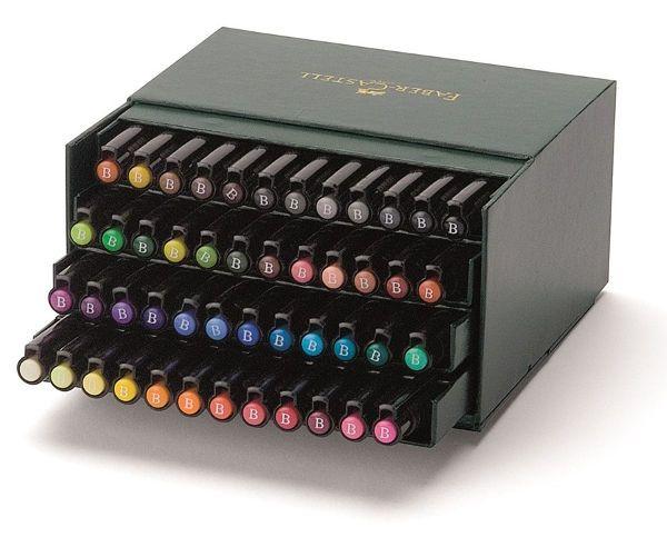 Капиллярные ручки PITT® ARTIST PEN, набор цветов, в студийной (кожзам.) коробке, 48 шт.