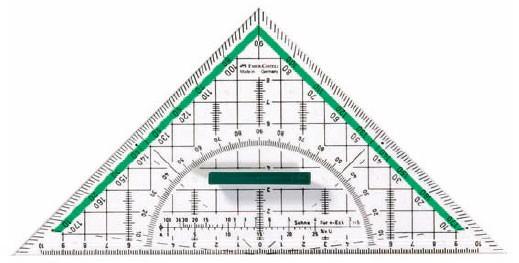 Многофункциональный треугольник ТЕКА, 227x114x2.2мм, в пластмассовом пенале, 1 шт.