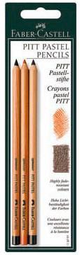 Пастельные карандаши PITT® PASTEL и PITT® MONOCHROME PASTEL,  кроваво-красный/цвет сепии,  в блистере, 3 шт.