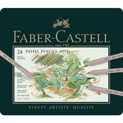 Пастельные карандаши PITT®, набор цветов, в металлической коробке, 24 шт.