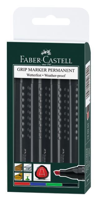 Перманентный маркер GRIP 1503, клиновидный наконечник, набор цветов, в футляре, 4 шт.