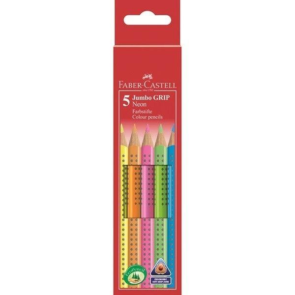 Цветные карандаши JUMBO GRIP, неоновые цвета, в картонной коробке, 6 шт.