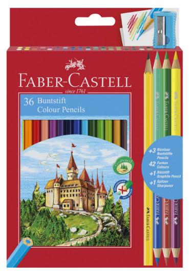 Цветные карандаши Замок, в карт. промоупаковке, 36 шт + 3 двухцветных карандаша+1 чернограф. карандаш+точилка
