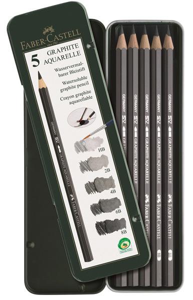 Чернографитовые акварельные карандаши, HB, 2B, 4B, 6B, 8B, в металлической коробке, 5 шт.