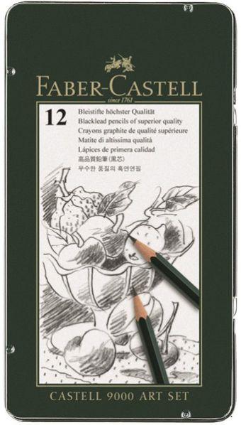 Чернографитовые карандаши  CASTELL® 9000, твердость 8B, 7B, 6B, 5B, 4B, 3B, 2B, B, HB, F, H, 2H, в металлической коробке, 12 шт.