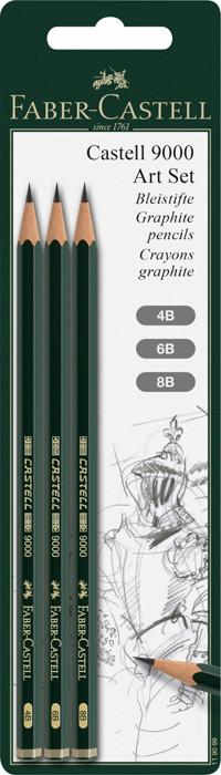 Чернографитовый карандаш Castell 9000, в блистере, 3 шт., 4B, 6B, 8B